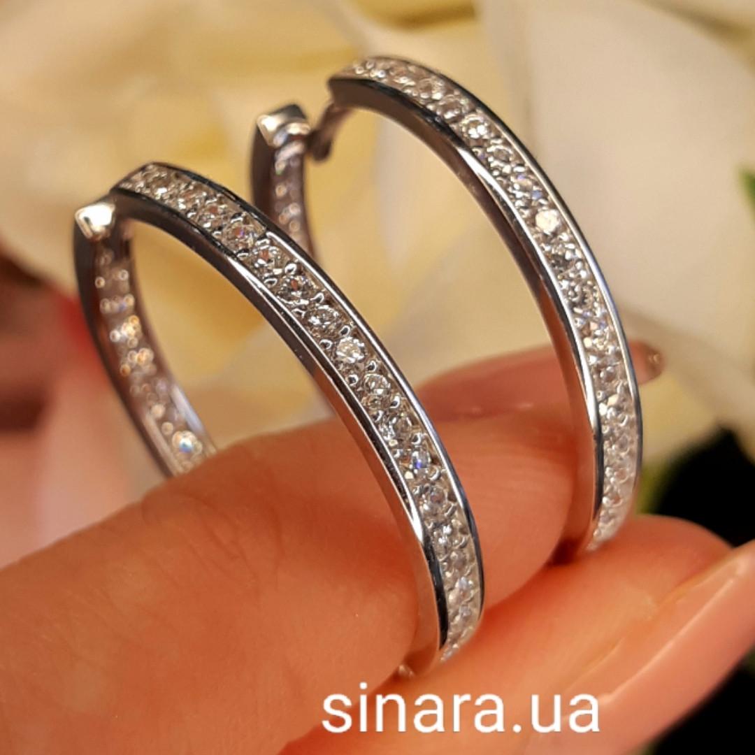 Серьги кольца серебряные родированные с фианитами - Роскошные серьги Конго серебро с камнями диам. 28 мм