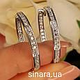 Серьги кольца серебряные родированные с фианитами - Роскошные серьги Конго серебро с камнями диам. 28 мм, фото 2
