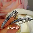 Серьги кольца серебряные родированные с фианитами - Роскошные серьги Конго серебро с камнями диам. 28 мм, фото 6