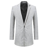 34245cbeb76 Мужская средняя длинная сплошной цвет One кнопка повседневная бизнес пиджак пальто  куртка 1TopShop