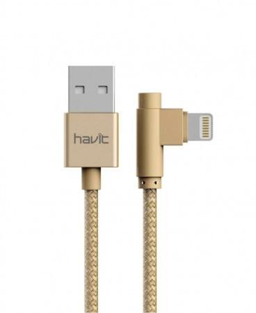 """Кабель для передачи данных смартфона HAVIT HV-CB8503, golden, Lightning, """"угловой"""""""
