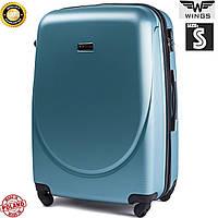 Маленький пластиковый синий дорожный  чемодан на 4 колесах фирма Wings Одесса