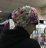 Летняя бандана-шапка-косынка-чалма-тюрбан в цветах, фото 4