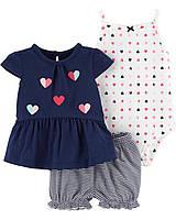 Детский летний комплект - кофточка, боди и шортики Картерс для девочки