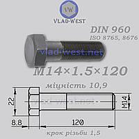 Болт с мелкой резьбой DIN 960 прочность 10,9 М14х1,5х120 черный (без покрытия)