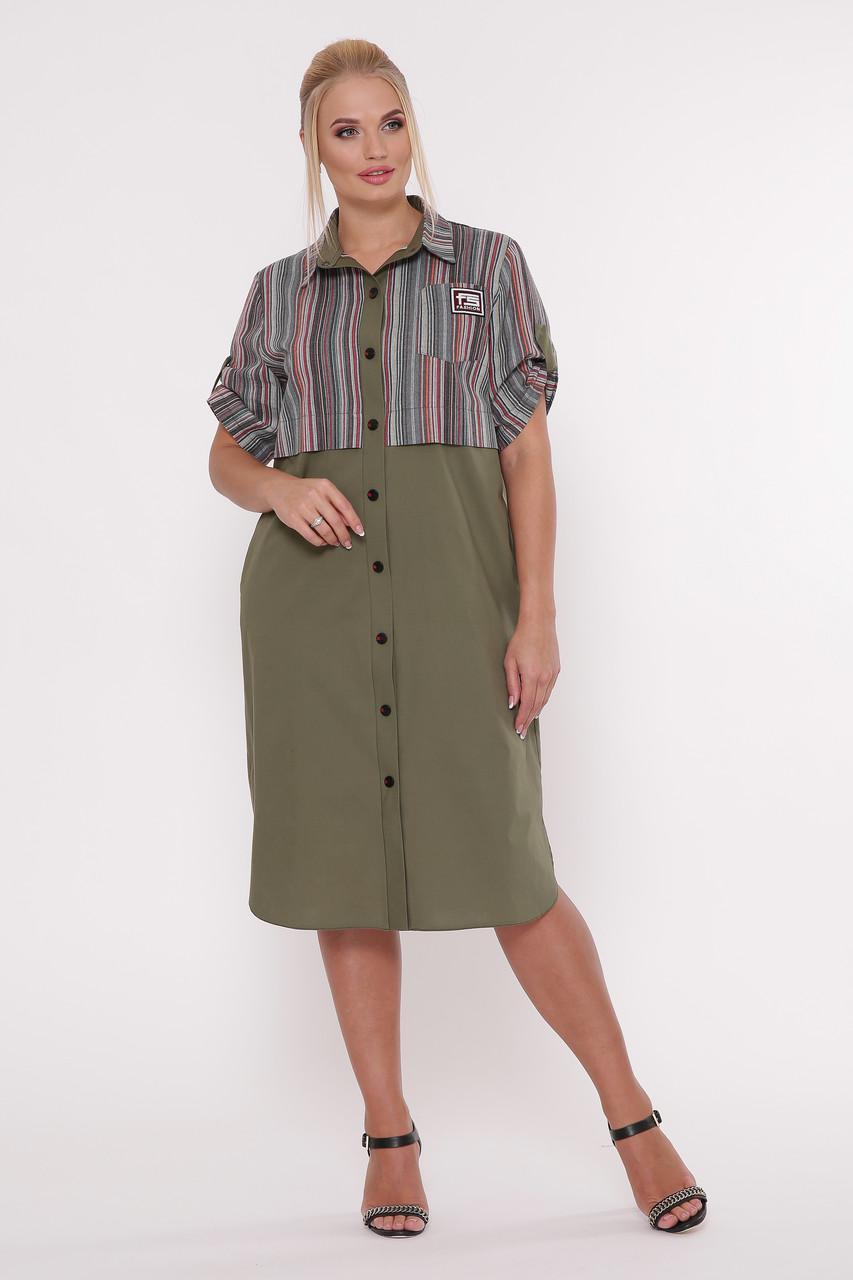Платье рубашка большого размера Лана оливка