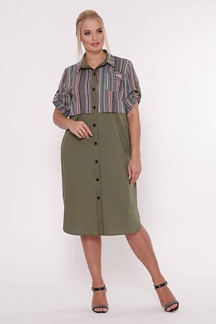 Платье рубашка большого размера Лана оливка, фото 2
