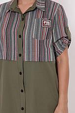 Платье рубашка большого размера Лана оливка, фото 3