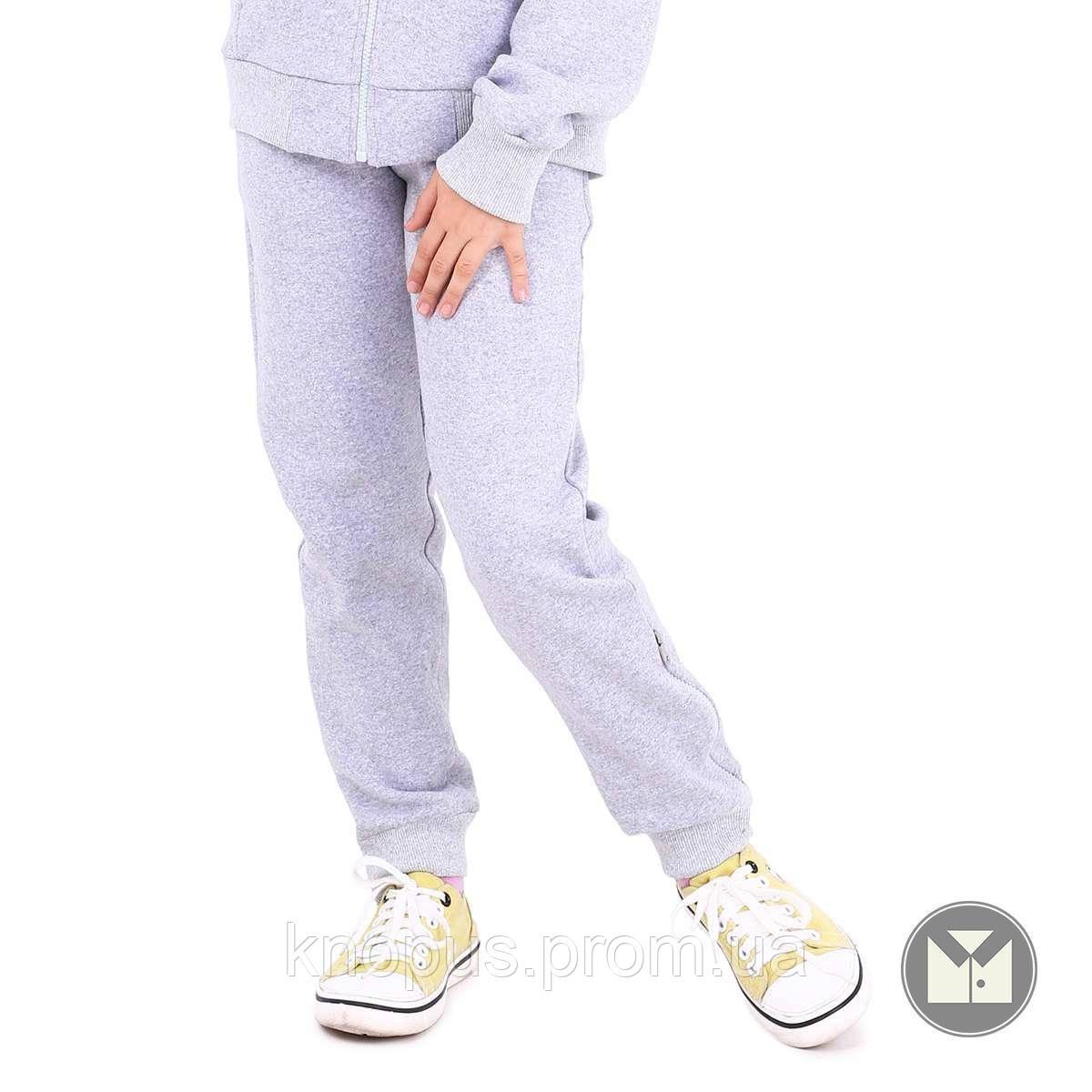 Утерленные спортивные штаны  для девочки светло-серые, Naomi, размер 134, Тимбо