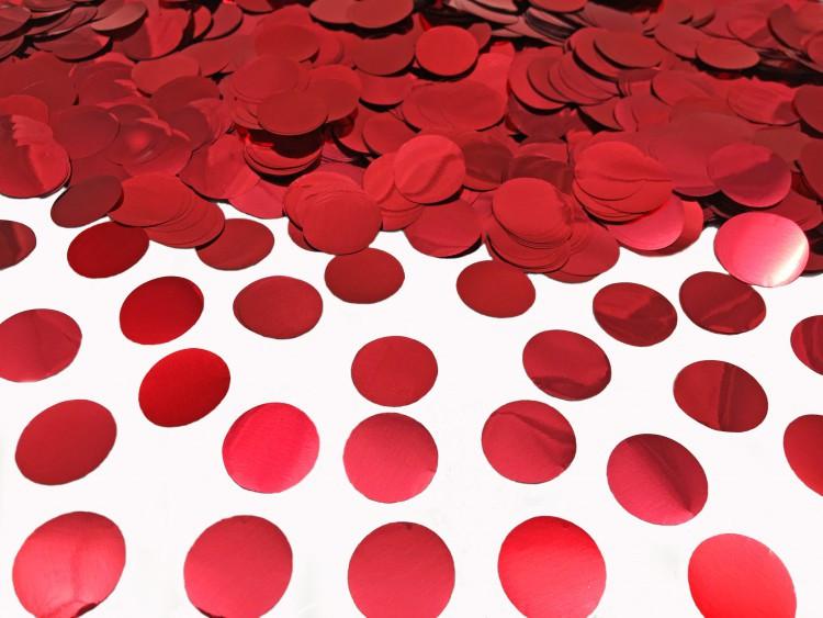 Конфетти кружочки, красный металлик 23 мм, 50 грамм
