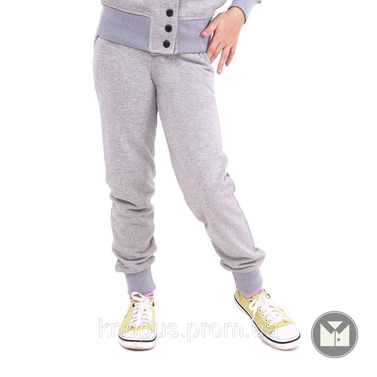 Утерленные спортивные штаны  для девочки светло-серые, Nicole, размеры 122-152, Тимбо