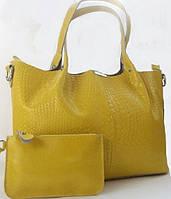 Женская сумка из натуральной кожи лимонного цвета , фото 1