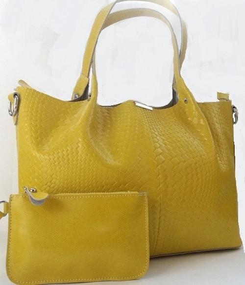 Женская сумка из натуральной кожи лимонного цвета