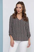 Красивая женская блузка с принтом FANDI свободного кроя весна 2019