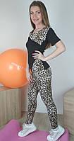 Женский фитнес комплект одежды с леопардовым принтом для занятий спортом 42-48 р