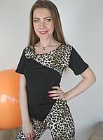 Спортивная женская футболка с леопардовым принтом для фитнеса 42-48 р