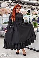 Длинное платье с длинным рукавом    50-52.54-56 Цвет белый, черный, фото 1