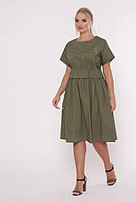 Оливковое платье из хлопка батал Мелисса, фото 2