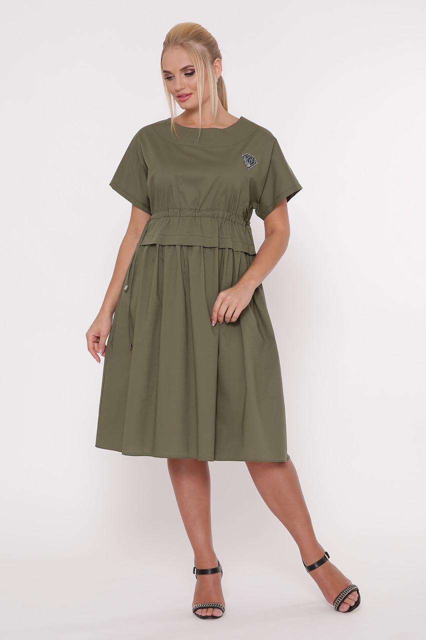 Оливковое платье из хлопка батал Мелисса