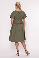 Оливковое платье из хлопка батал Мелисса, фото 3