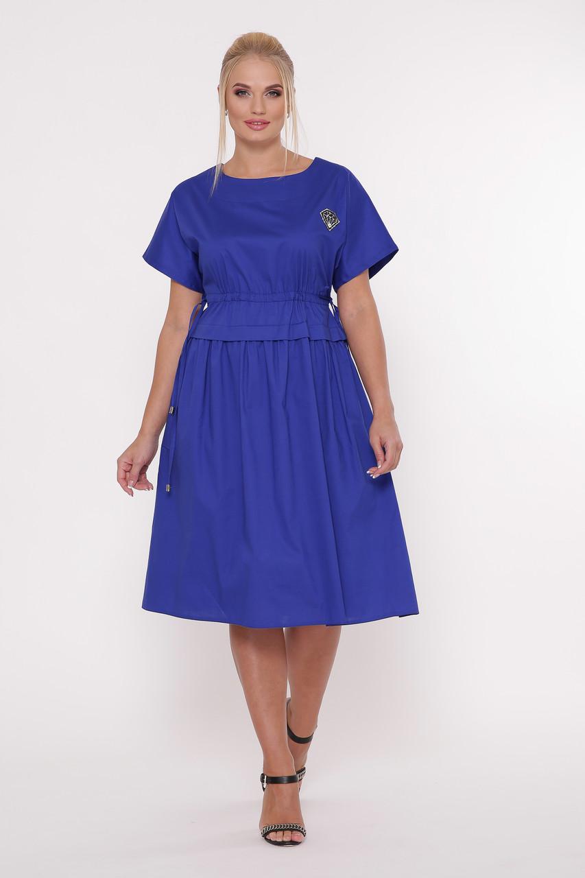 Платье ниже колена для полных Мелисса электрик