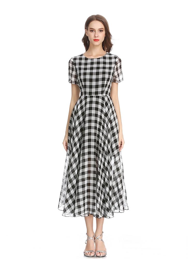 Женское повседневная клетчатая печать шифон Платье O-образным вырезом с коротким рукавом Платье - 1TopShop