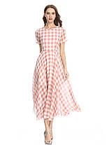 Женское повседневная клетчатая печать шифон Платье O-образным вырезом с коротким рукавом Платье - 1TopShop, фото 3