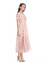 Женское повседневная клетчатая печать шифон Платье O-образным вырезом с коротким рукавом Платье - 1TopShop, фото 2