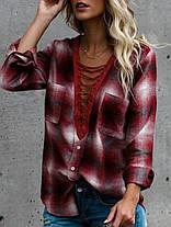 Женское Хлопок V-образным вырезом кнопки с длинным рукавом блузка с карманами - 1TopShop, фото 3