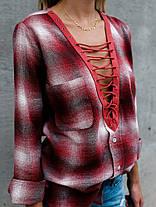 Женское Хлопок V-образным вырезом кнопки с длинным рукавом блузка с карманами - 1TopShop, фото 2