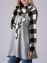 Рождественский лося Печать Плейд Черепаха Черепаха Шея Женская толстовка - 1TopShop, фото 3