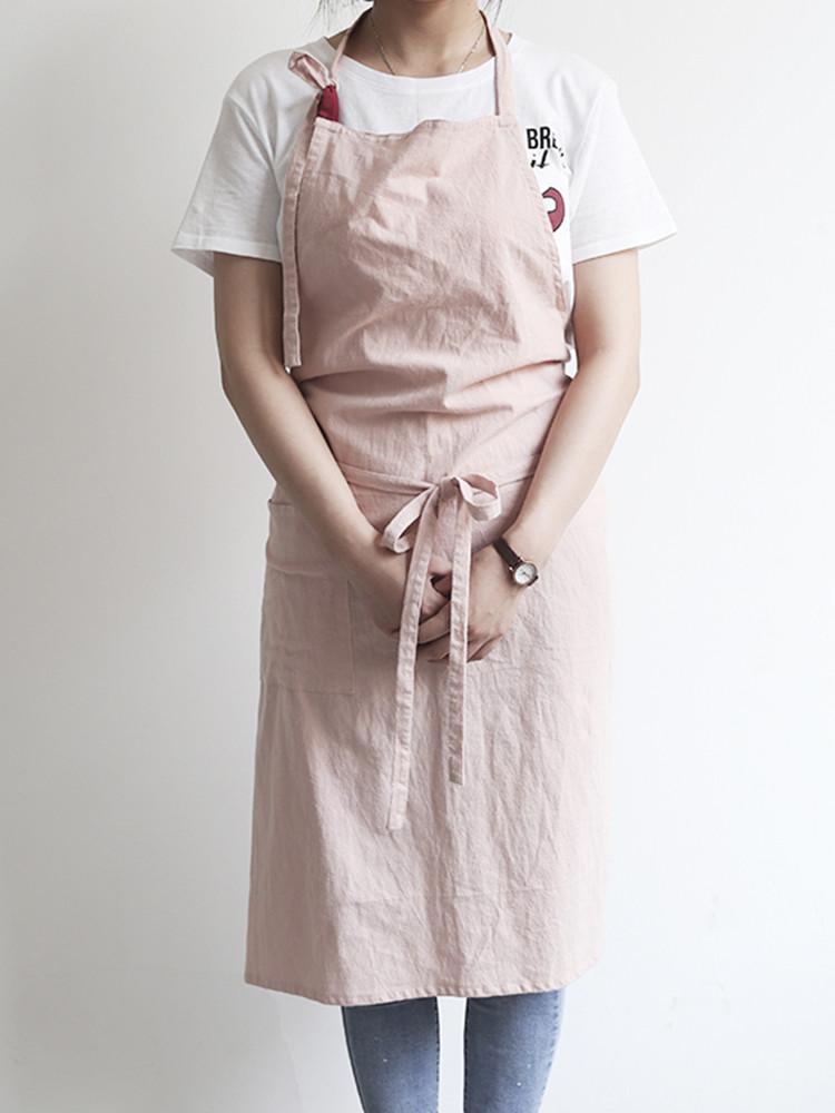 Японский краткий твердый цвет льняного хлопка Винтаж Pinafore Платье - 1TopShop