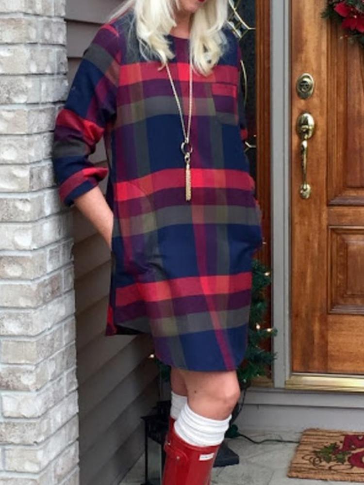 Повседневная плед O-образным вырезом с длинным регулируемым рукавом Женское Рубашка Платье - 1TopShop
