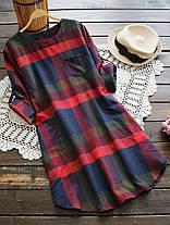 Повседневная плед O-образным вырезом с длинным регулируемым рукавом Женское Рубашка Платье - 1TopShop, фото 2