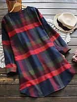 Повседневная плед O-образным вырезом с длинным регулируемым рукавом Женское Рубашка Платье - 1TopShop, фото 3