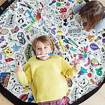 DoodlingPlayMatХраненияИгрушекХолст Сумка Прочный Пол Активности Органайзер Коврик Большой Drawstring Портативный Контейнер для Детей Игрушки -, фото 2