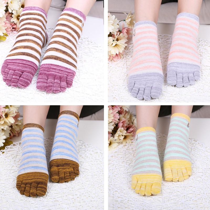 Дамы Пять пальцев ног Носки Простой модный хлопковый полосатый 4-параный набор для лодыжки для ног Носки - 1TopShop