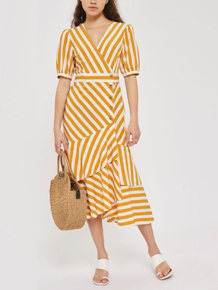 Женское Повседневный полосатый V-образный вырез. завернутый Платье Однобортный с оборками. Длинный Платьеes - 1TopShop