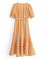 Женское Повседневный полосатый V-образный вырез. завернутый Платье Однобортный с оборками. Длинный Платьеes - 1TopShop, фото 3
