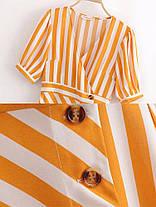 Женское Повседневный полосатый V-образный вырез. завернутый Платье Однобортный с оборками. Длинный Платьеes - 1TopShop, фото 2