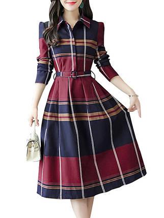 Женский Причинный Aline Платье Плед с отложным воротником и высокой талией Платье - 1TopShop, фото 2