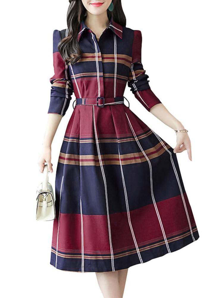 Женский Причинный Aline Платье Плед с отложным воротником и высокой талией Платье - 1TopShop