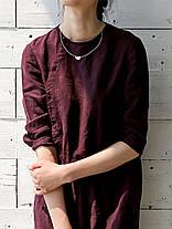 Винтаж Женское Элегантная свободная эластичная талия Чистый цвет 3/4 Рукав Платье - 1TopShop, фото 3