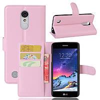 Чехол-книжка Litchie Wallet для LG K10 2017 M250 Светло-розовый