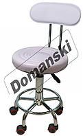 Стульчик мастера со спинкой, стул на колёсиках с регулировкой по высоте. от Domanski мебель.