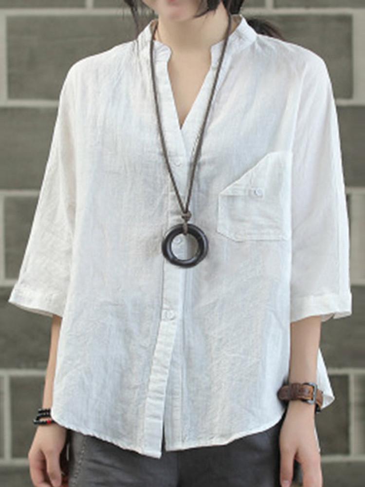 Plus Размер Винтаж V-образный вырез 3/4 рукава Свободные Женское Блуза - 1TopShop