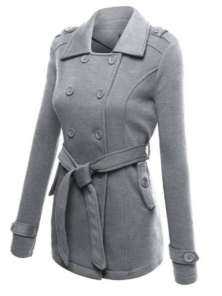 Женские однотонные пальто с длинными рукавами и блендами - 1TopShop