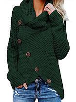 Женское Повседневная сплошная цветная водолазка Нерегулярные подол Пуговицы - 1TopShop, фото 3