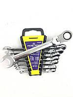 Набор ключей рожково-накидных с трещоткой шарнирные Falon Tech 8 предметов (8-22) Польша