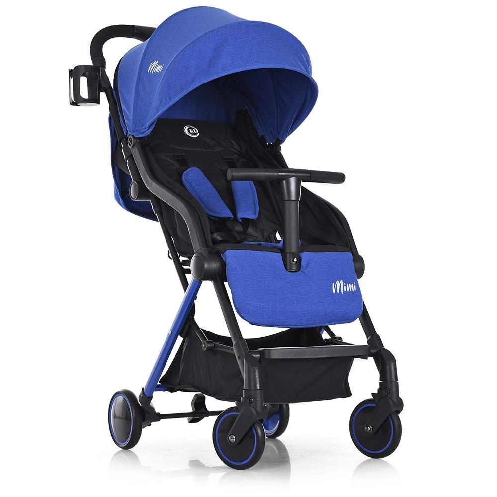 Коляска детская MIMI Indigo, El Camino (1036L) синяя, чехол на ножки, подстаканник в комплекте